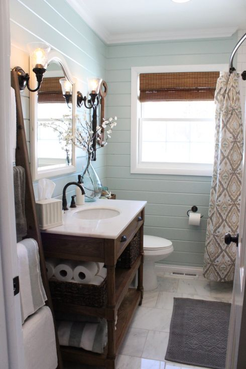 Remodeling ideas for small bathrooms horizontal planked walls, subway tile shower