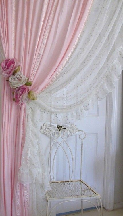 Shabby Chic Bedroom Curtains Pretty Flowers Ideas Images 09