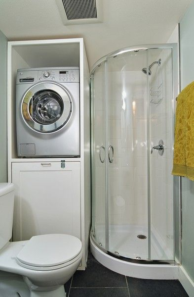 Small Bathroom Design Storage Under the Washer or Dryer