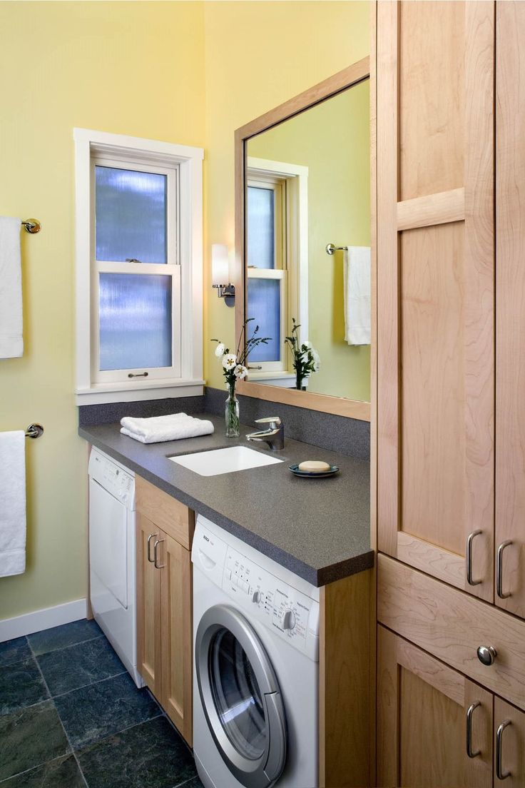 Small Bathroom Design with Washer, Dryer Under the Bathroom Counter