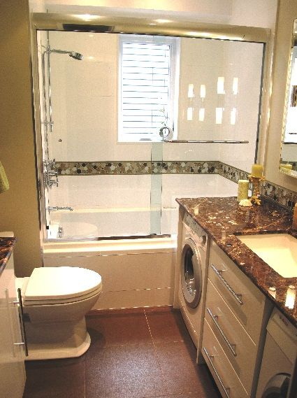 Small Bathroom Design with Washer and Dryer Basement Bath with Laundry Area