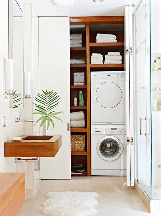 Small Bathroom Design with Washer and Dryer Laundry Room Literally Hidden in Your Bathroom Closet