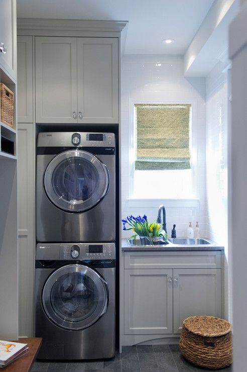 Small bathroom design with washer and dryer laundry or mud room combo with gray shaker cabinets - Washer dryers for small spaces ideas ...