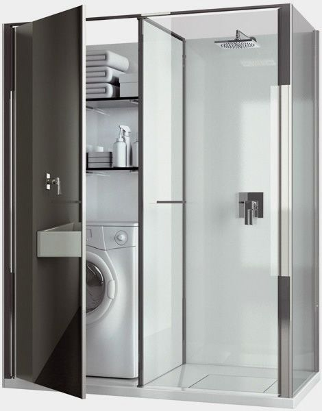 Small Bathroom Design with Washer and Dryer - Small Room ... on Small Space Small Bathroom Ideas With Washing Machine id=74929