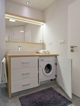 Small Bathroom Designs with Washing Machine Moves From Tricked-Out Bathrooms