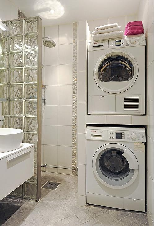 Small bathroom designs with washing machine transitional for Washing machine in bathroom ideas