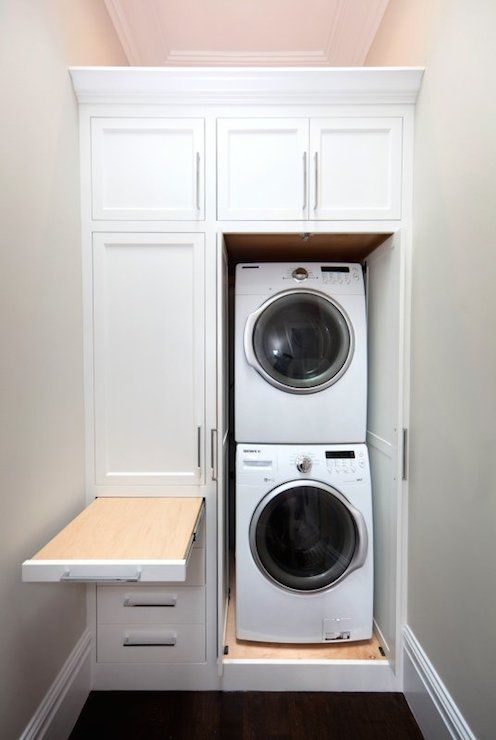 Small bathroom design with washer and dryer laundry or mud room combo with gray shaker cabinets - Small space laundry set ...