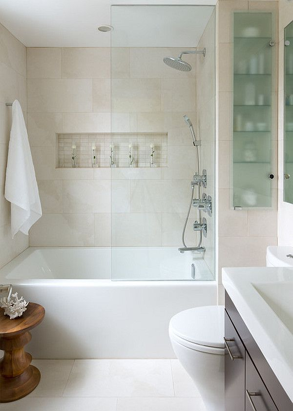 Small Bathroom Remodeling Design Ideas Bath Tub with Glass Wall