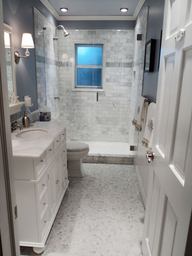 Small Bathroom Remodeling Designs Beautiful Look was Created with Cool Colors, Marble Tile and a Change of Layout