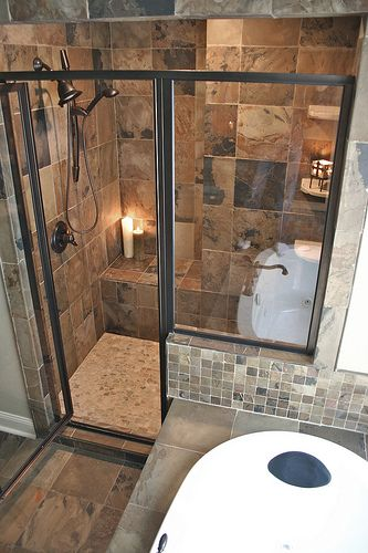 Small Bathroom Remodeling Images Fitting a Shower and Tub in a Small Space