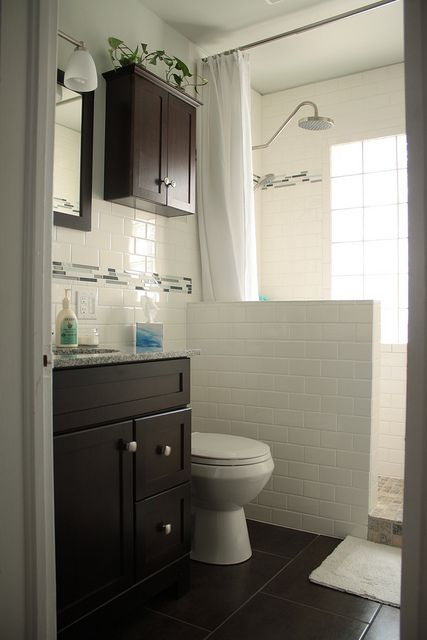 Small Bathroom Remodeling on a Budget Walk in Shower and Subway Tile Dark Cabinets