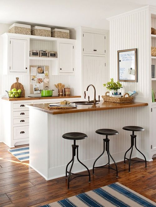 Small Kitchen Cabinets Design Beadboard in the Kitchen and the Contrasting Counter Tops