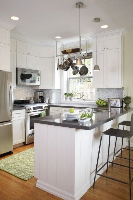 Small Kitchen Cabinets Ideas Black and White Kitchen, Gray Countertops