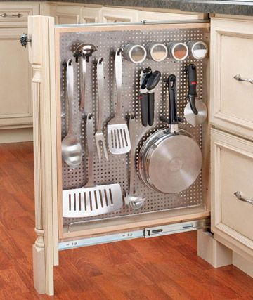 Small Kitchen Cabinets Storage Slide Out Pegboard in Kitchen Cabinets Cooking Spoons, Holds Spatulas, etc