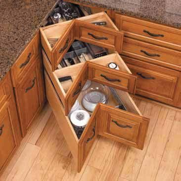 Small Kitchen Storage Cabinets Corner Drawers Instead of the Corner Cabinet