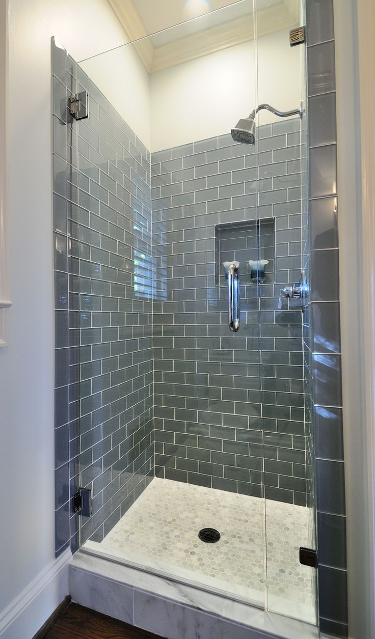 Small bath remodel ice Glass subway tile in shower