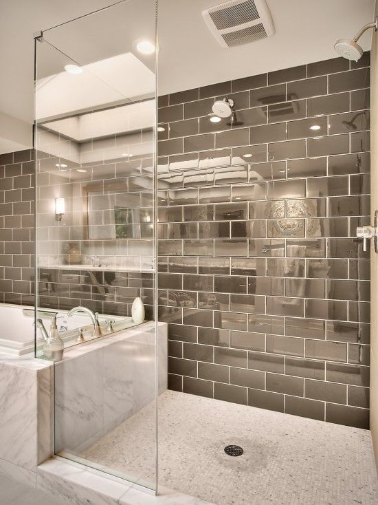 Small bathroom remodel wall of silver subway tile