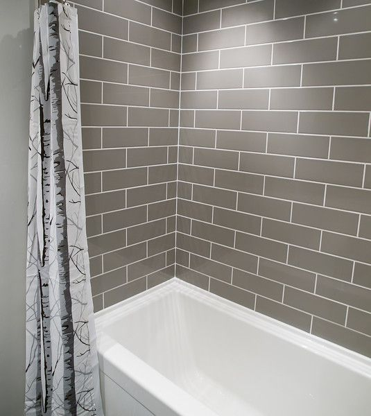 Small bathroom remodeling ideas complete DIY renovation with grey brick pattern subway tiles