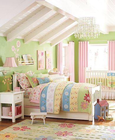 Traditional Ceiling Ideas - Pink And Green Girl Room Design Photos 011