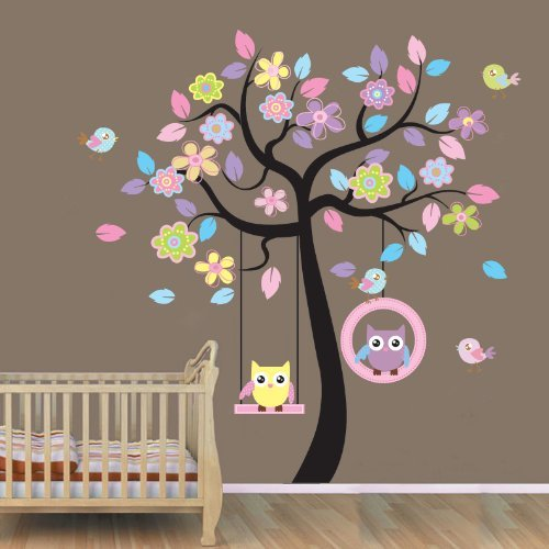 Tree Wall Decal for Baby Nursery - Beautiful Tree with Hanging Owls Pink Flowers