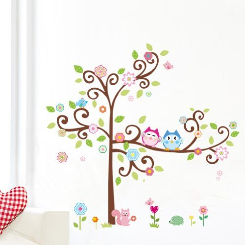 Tree Wall Decal for Children's Room - Colorful Flower And Owls Removable Decals For Kids Room Decoration