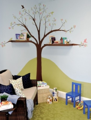 Tree Wall Decal for Children's Room with the Shelves for the Play Room