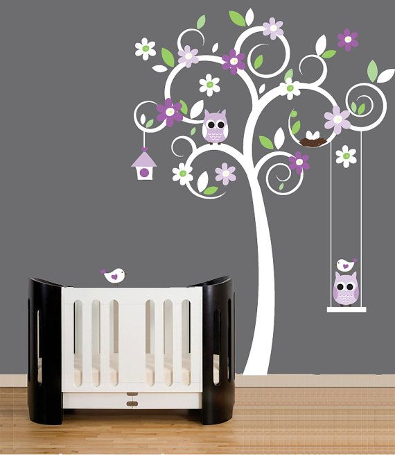 Tree Wall Decal for Nursery with Owls, Birds and Swing