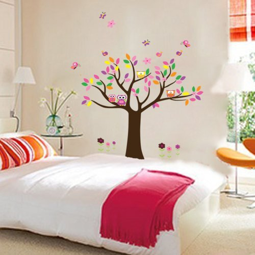 Tree Wall Decals Pretty Princess Bedroom Colorful Flowers Butterfly Owls Birds Around Tree Nursery Wall Art Stickers Decal