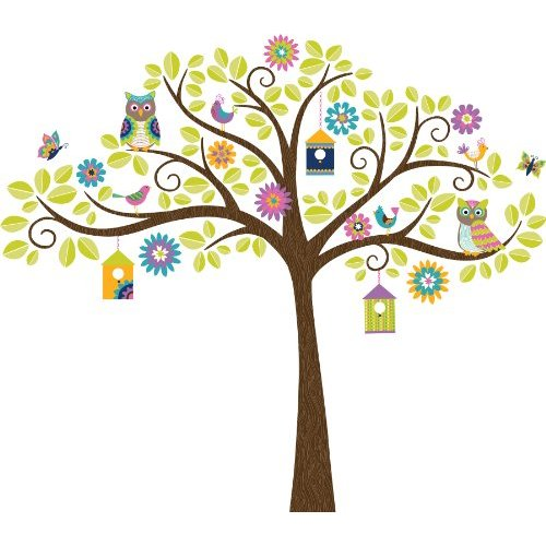 Tree Wall Decals for Kids - Wall Pops WPK0838 Hoot And Hangout Wall Decal Kit
