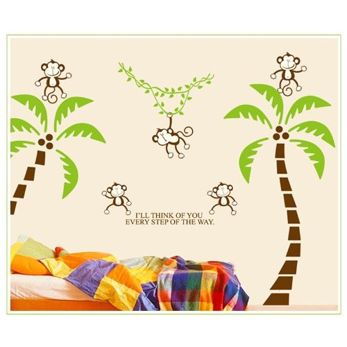 Tree Wall Vinly Decal Decor Sticker Removable Wall Colorful The squirrel owl monkeys Playing
