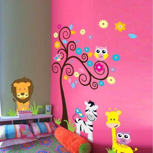 Wall Decal Children's Room Owl Zebra Lion Tree Wall Decals Decor Mural Decorative for Nursery Wall Stickers Home