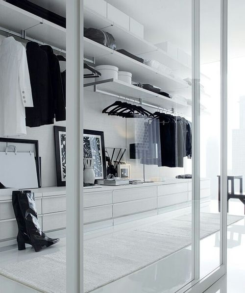 Wardrobe Design for Bedroom Minimalist Walk-in Wardrobe with Glass Doors