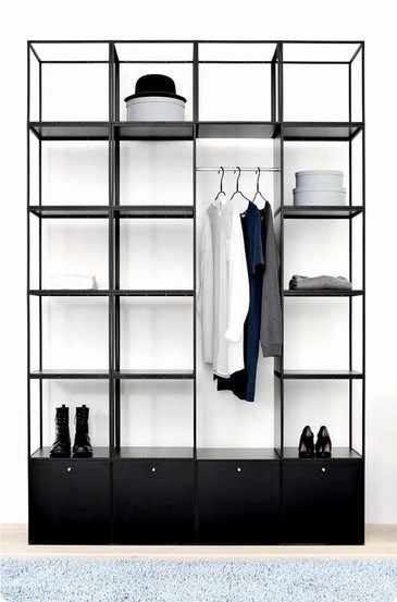 Wardrobe Design for Bedroom Open Wardrobe Black and White