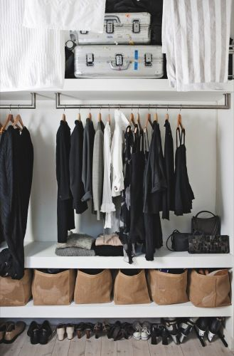 Wardrobe Design for Bedroom walk-in closet or wardrobe rails hung from the underside of shelves