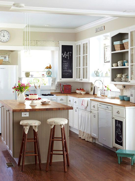 White cottage small kitchen cabinets for a small space - Kitchen cabinet ideas small spaces photos ...
