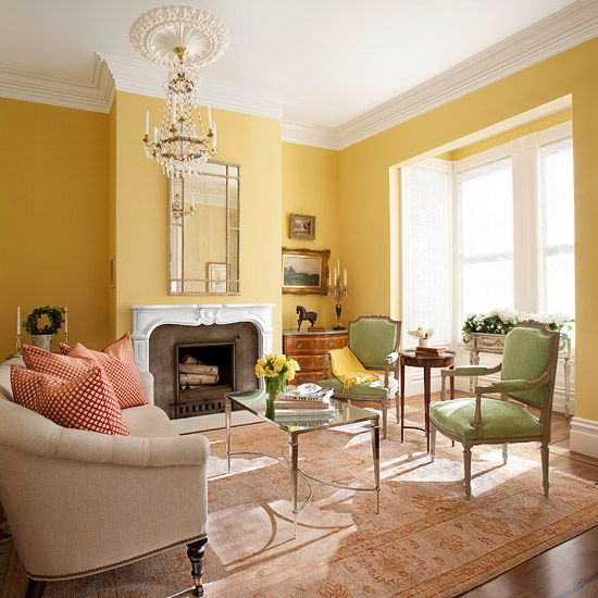 Yellow Living Room Color Schemes Ideas Pictures