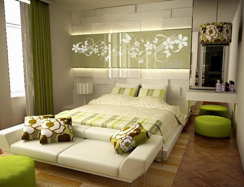beautiful small master bedroom green pic 013