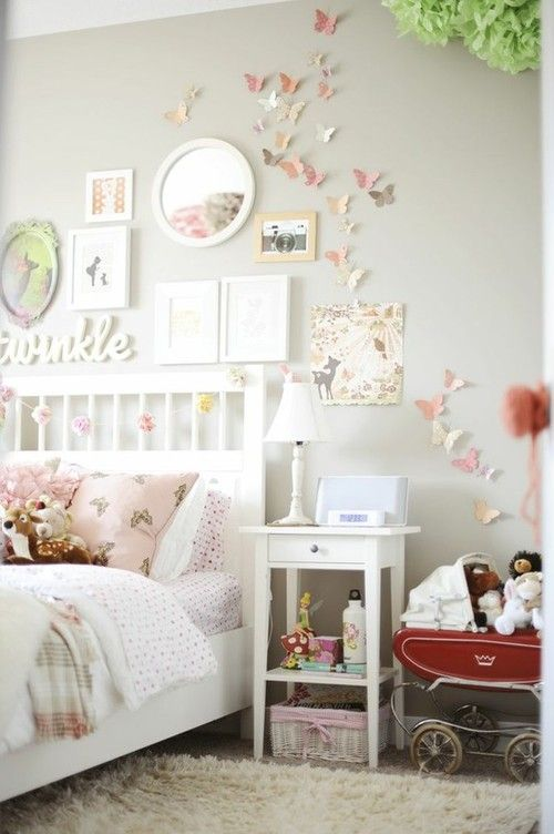 shabby chic bedroom for girl beautiful butterflies on wall pictures 06