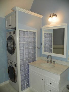 small bathroom ideas with washer and dryer Bathroom Remodel with Stackable Washer Dryer
