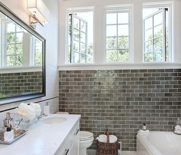 master bath remodel subway tile shower fixture mirror gray tile