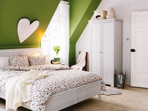 Beautiful Painting Small Attic Bedroom Green Color