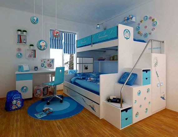 Blue And White Double Decker Bunk Beds