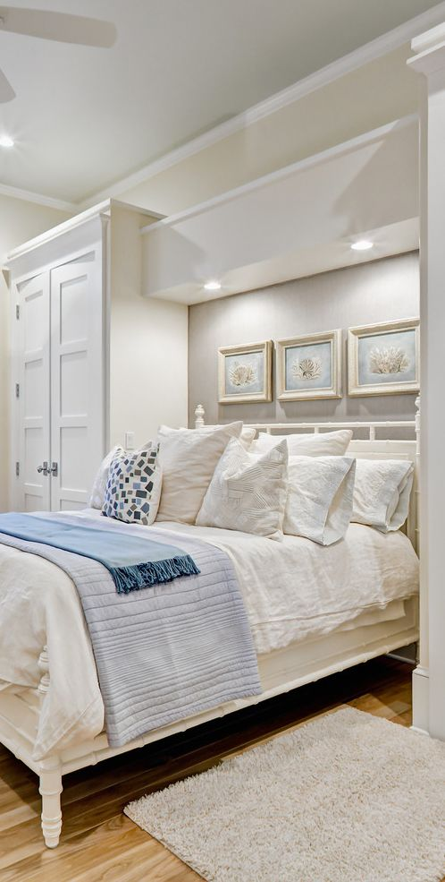 Built In Wardrobes For Small Bedrooms Lots Of Pillows, Over The Bed Lighting, Over The Headboard