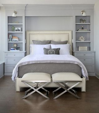 Calm And Soothing Bedroom These Floor To Ceiling Book Shelves Double As A Storage And An Eye