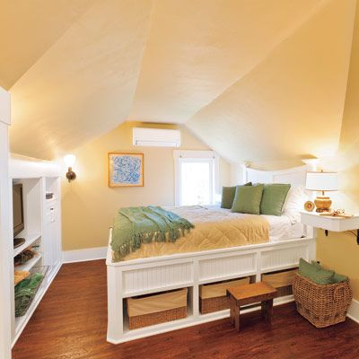 Cheerful Small Attic Bedroom Built-In Furniture, Cabinets, And Open Shelves