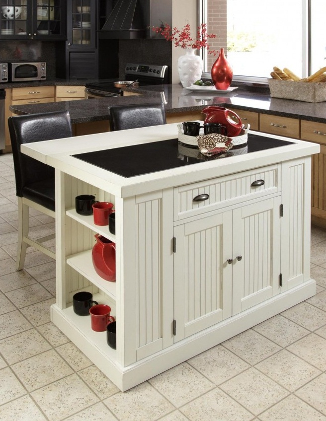 Contemporary White Kitchen Island For Small Kitchen With Black Glass Countertops, White Ceramic Floor And Drawers Storage