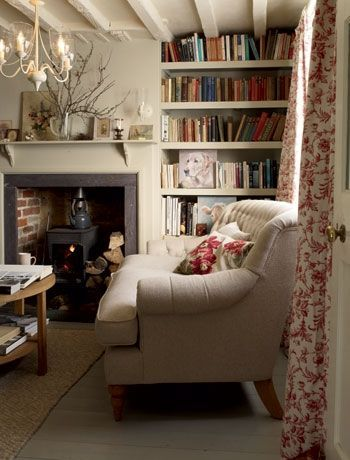 Cozy Small Sitting Room Ideas With Couch, Curtains And Books