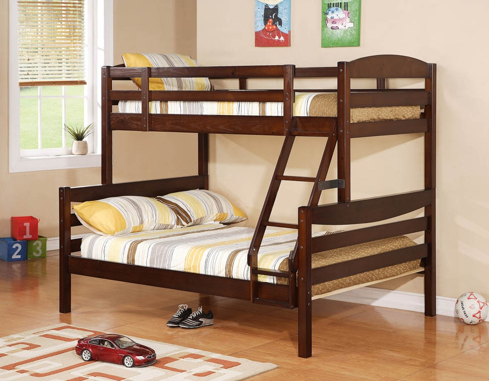 Double Size Bed For Teenager Solid Walnut Brown Wood Twin Double Bunk Bed 1