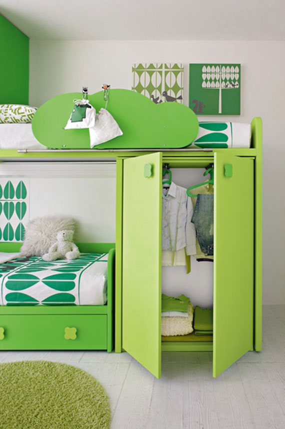 Green Bedroom Double Bed For Teenagers