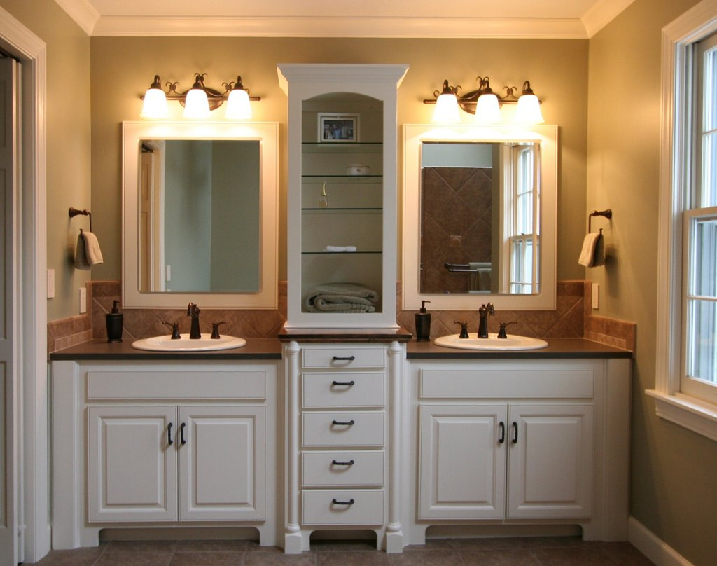 Inspiration Bathroom Remodeling Ideas For Master Bathrooms With Lighting Double White Vanity Sink Cabinet Over Mirror Storage Design Images 011